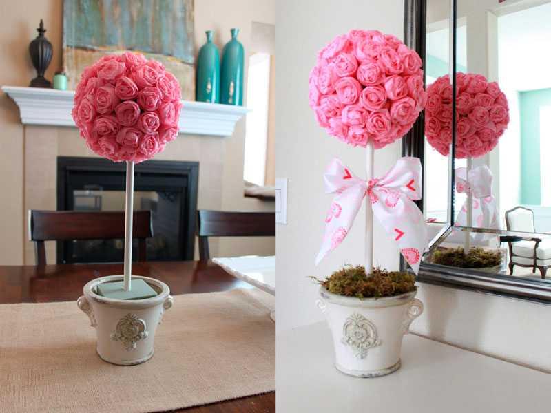 Топиарий из салфеток – как сделать красивые белые розы, новогодние картинки или дерево с листьями (видео мастер-класс)