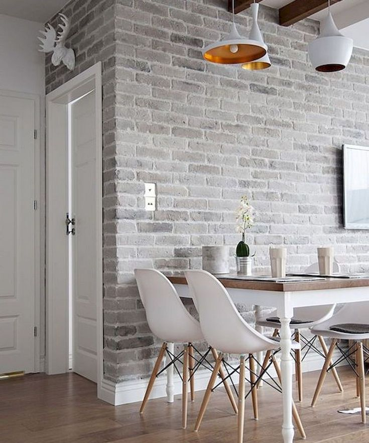 Варианты дизайна белых кирпичных стен
