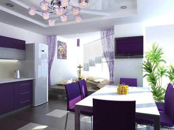 Дизайн кухни в фиолетовом цвете: 75 фото эффектных идей