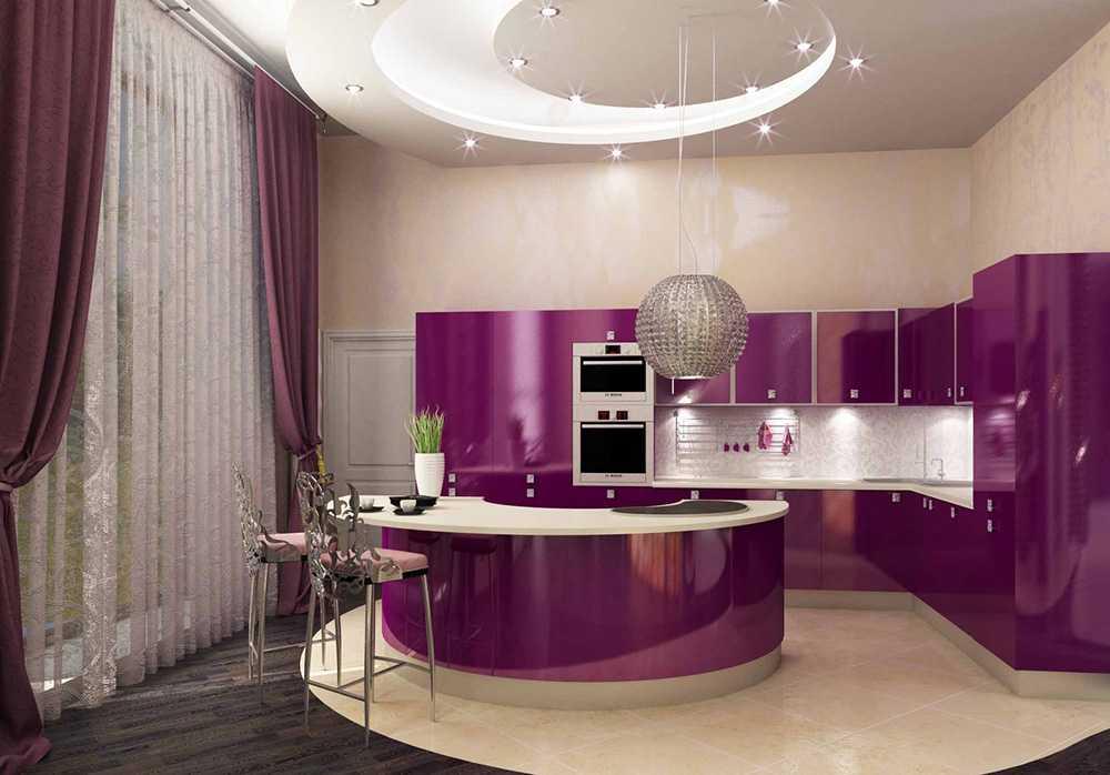 Сиреневая кухня: гарнитур, стены, обои, фартук, шторы