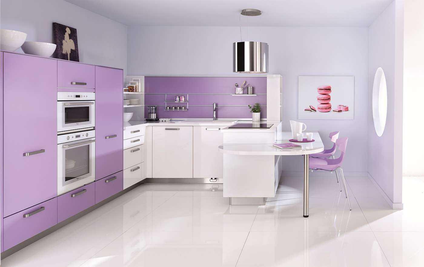 Сиреневая кухня: 50 фото идей дизайна кухонного помещения и гарнитура