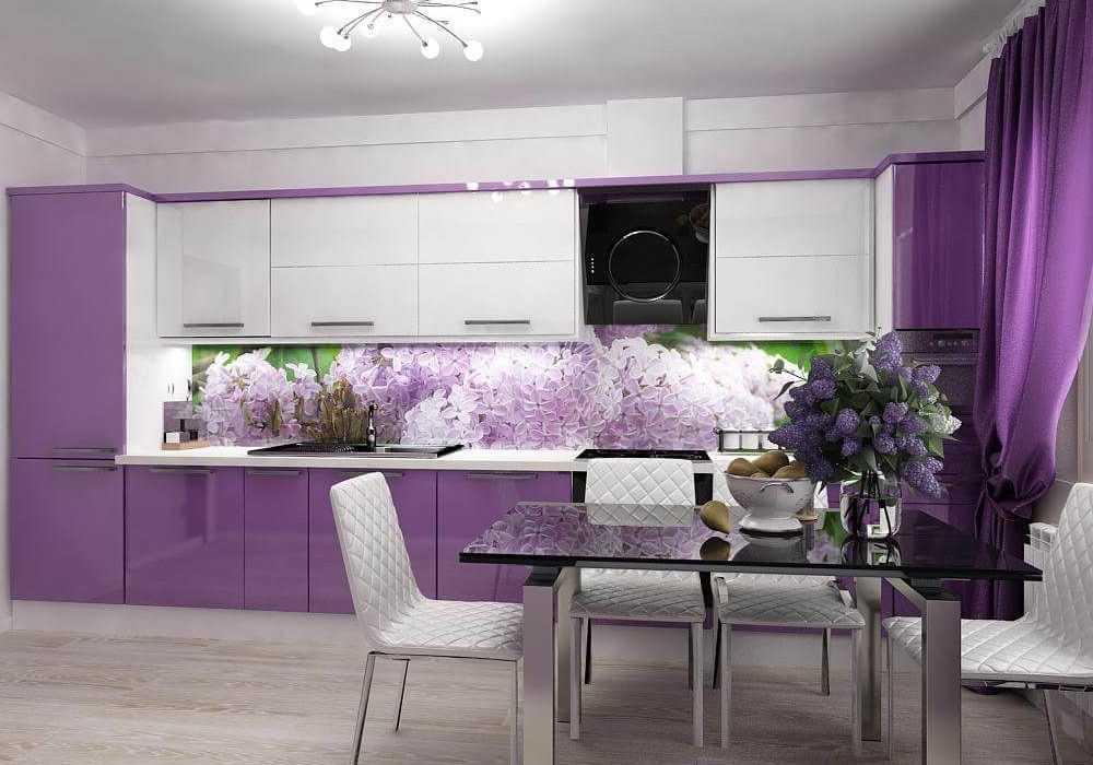Фиолетовые обои в интерьере кухни: 30 фото идей кухонного дизайна
