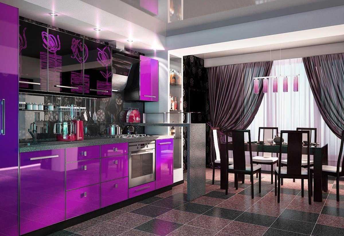 Фиолетовая кухня: фото интересных идей и примеры дизайна кухонного интерьера