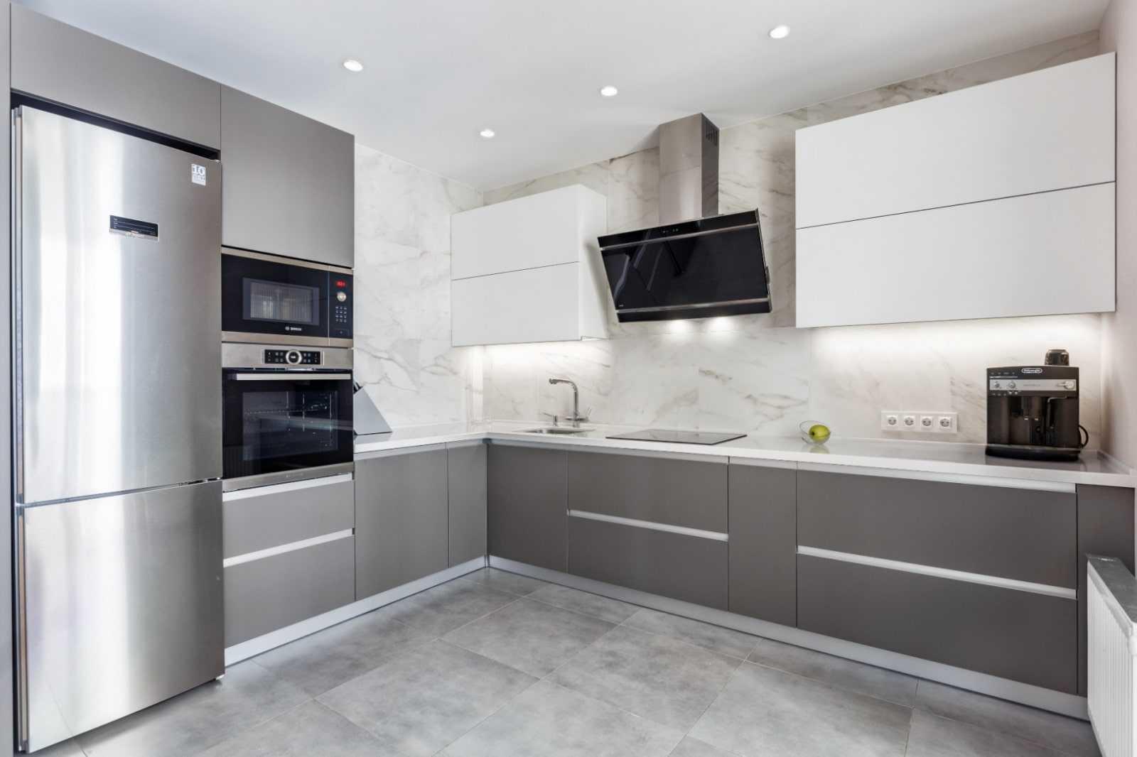 Серая кухня в интерьере: дизайн и цветовые сочетания (135 фото)