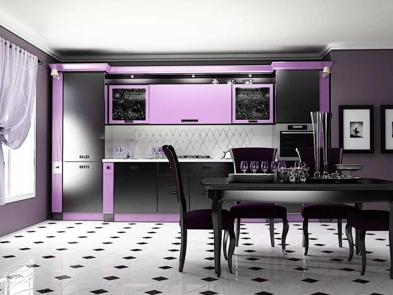 Использование фиолетовых обоев в интерьере кухни
