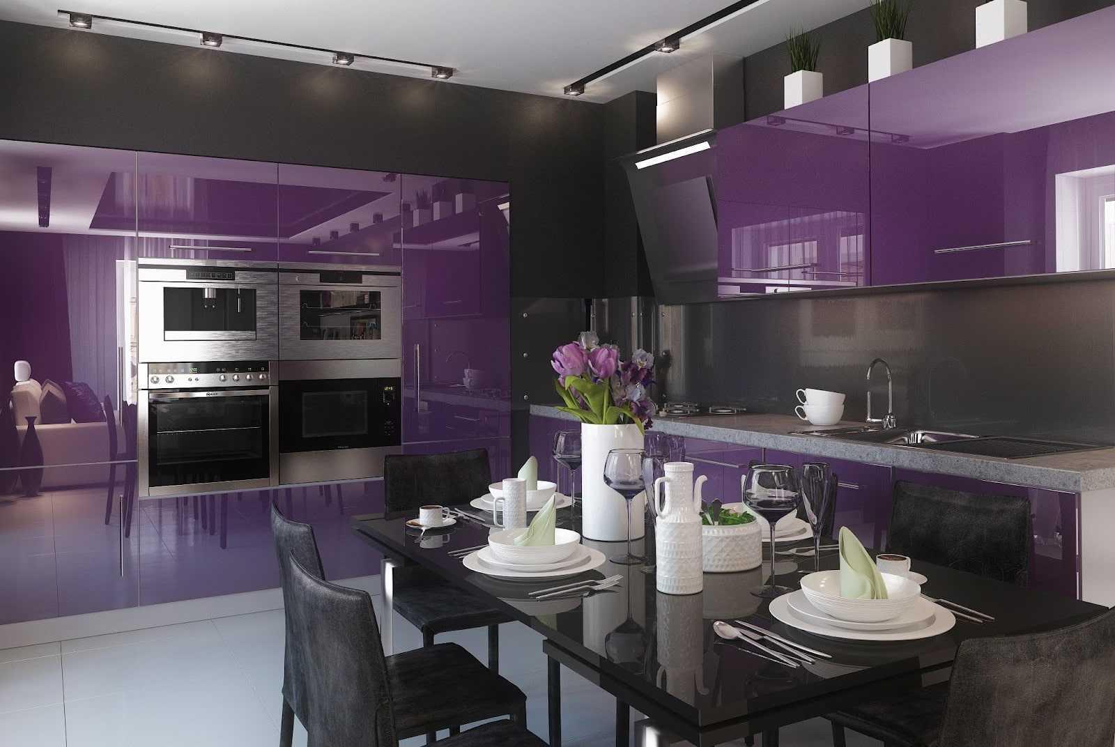 Фиолетовая кухня - 60 фото и 5 секретов дизайна
