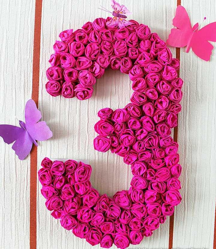 Как сделать цветок из салфетки своими руками для цифры на день рождения