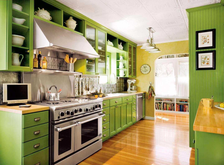 Фисташковая кухня: примеры интерьеров