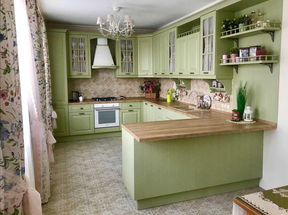 Фисташковая кухня: цветовые сочетания, стили, фартук, обои, фото